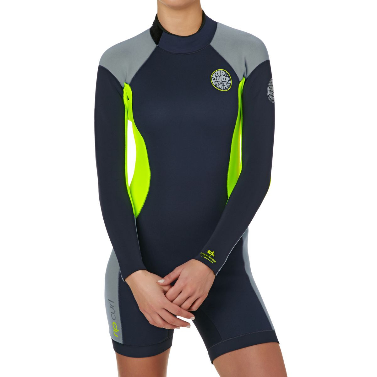 Rip Curl Womens Dawn Patrol 2mm Back Zip Long Sleeve Shorty Wetsuit - Charcoal