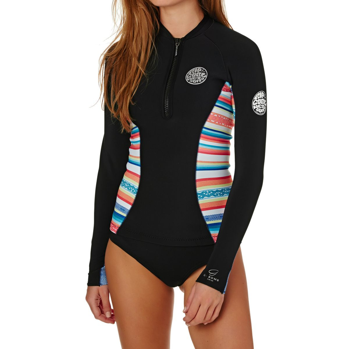 Rip Curl Womens G-Bomb 1mm 2017 Front Zip Long Sleeve Wetsuit Jacket - Stripe