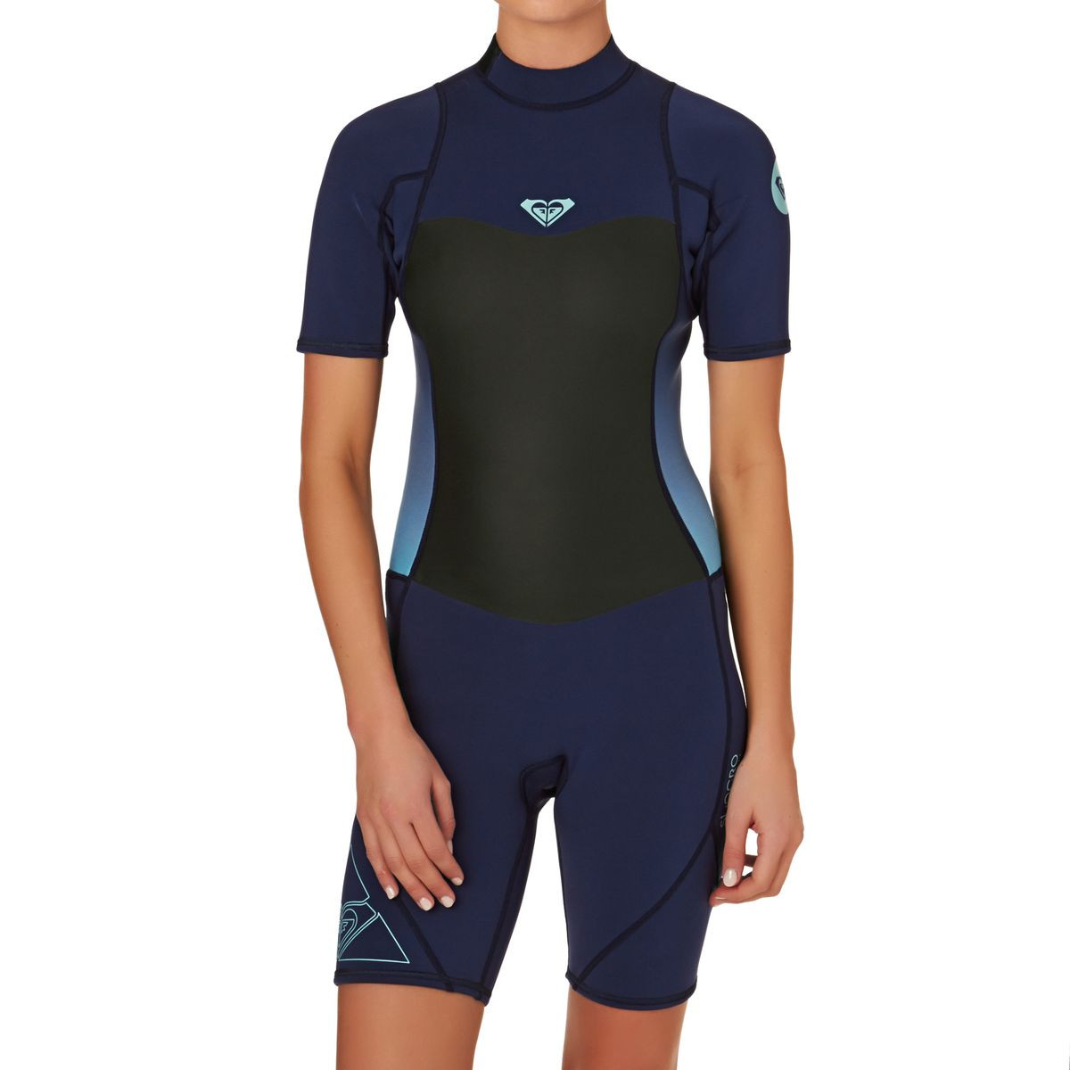 Roxy Womens Syncro 2mm Back Zip Short Sleeve Shorty Wetsuit - Blue Print