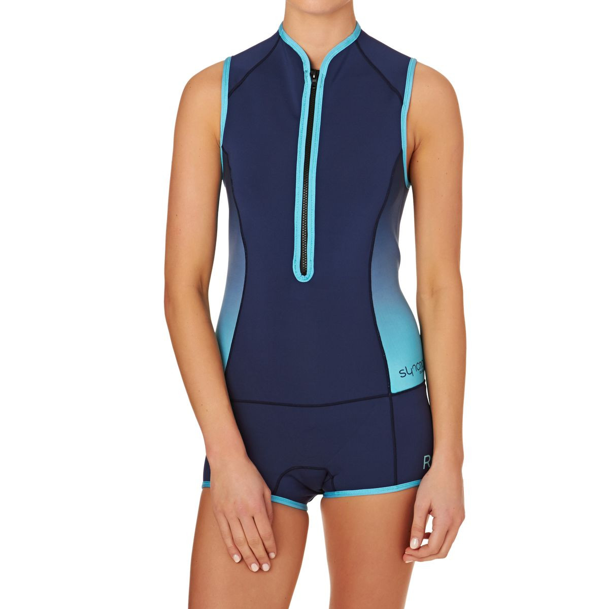 Roxy Womens Syncro 1mm Front Zip Short John Wetsuit - Blue Print