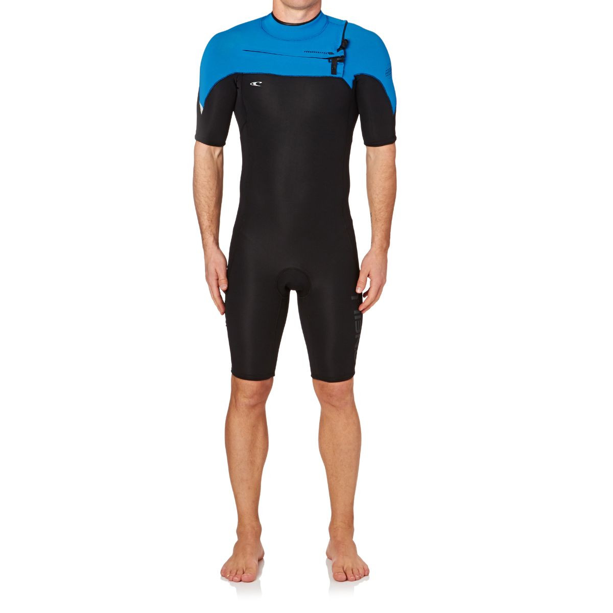 O'Neill Hyperfreak 2mm 2007 Chest Zip Short Sleeve Shorty Wetsuit - Black/ Bright Blue/ Cool Grey