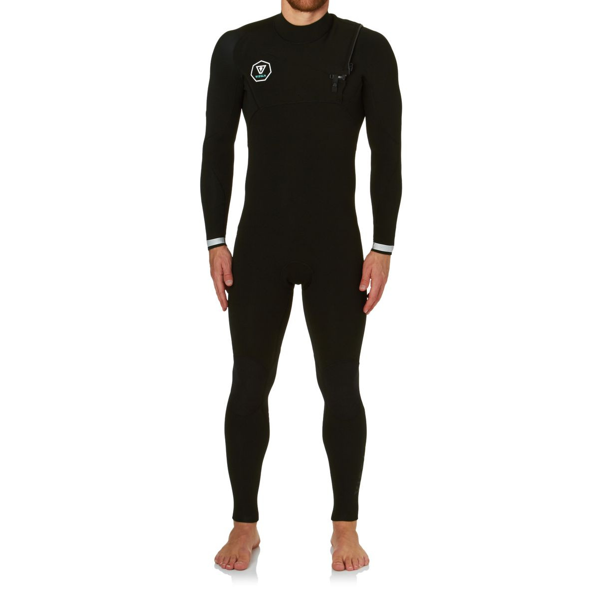 Vissla Seven Seas 4/3mm 2017 Chest Zip Wetsuit - Black With White