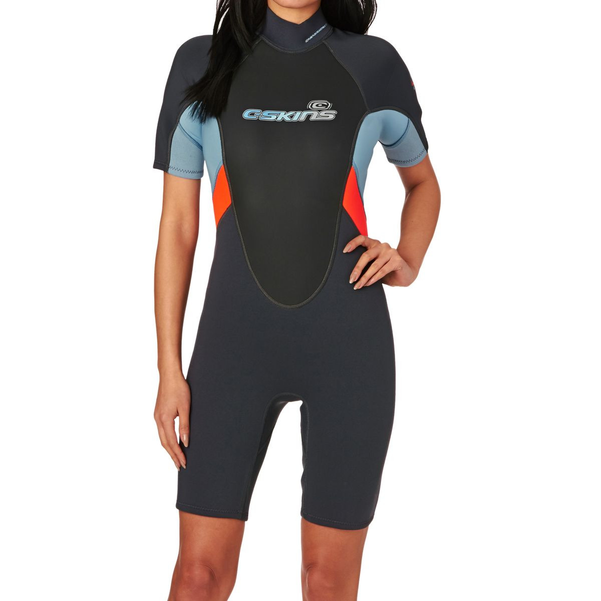 C-Skins Womens Element 3/2mm 2017 Back Zip Flatlock Short Sleeve Shorty Wetsuit - Graphite/ Coral/ Cold Blue