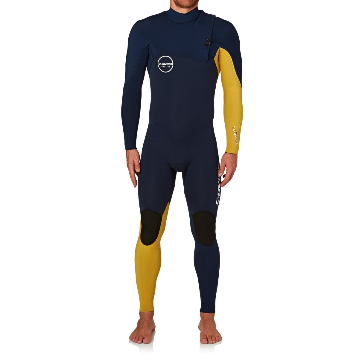C-Skins Re-Wired 3/2mm 2017 Zipperless Wetsuit - Black Blue/ Mustard