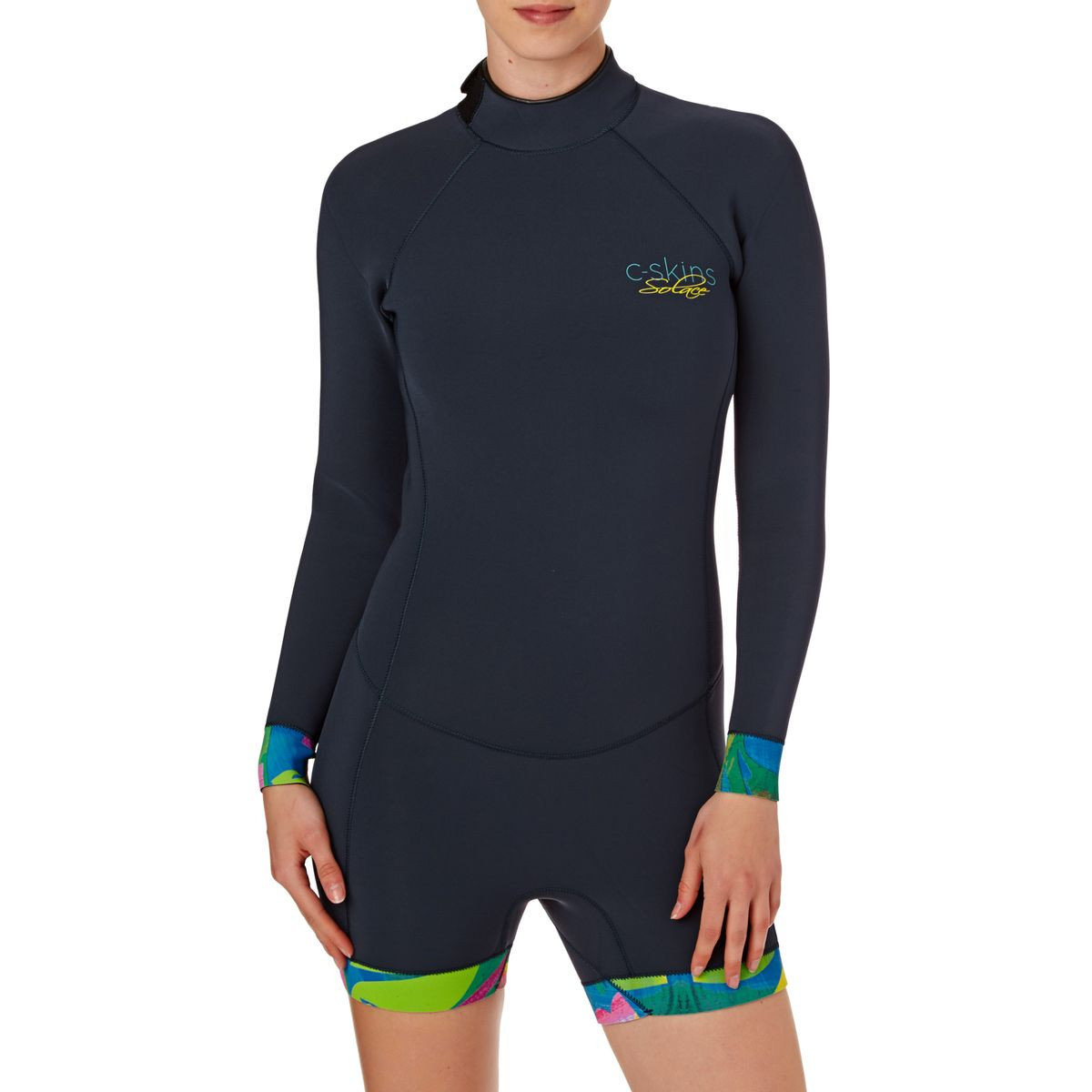 C-Skins Womens Solace 2mm 2017 Back Zip Long Sleeve Boyleg Shorty Wetsuit - Blue Black/ Tropic Trees