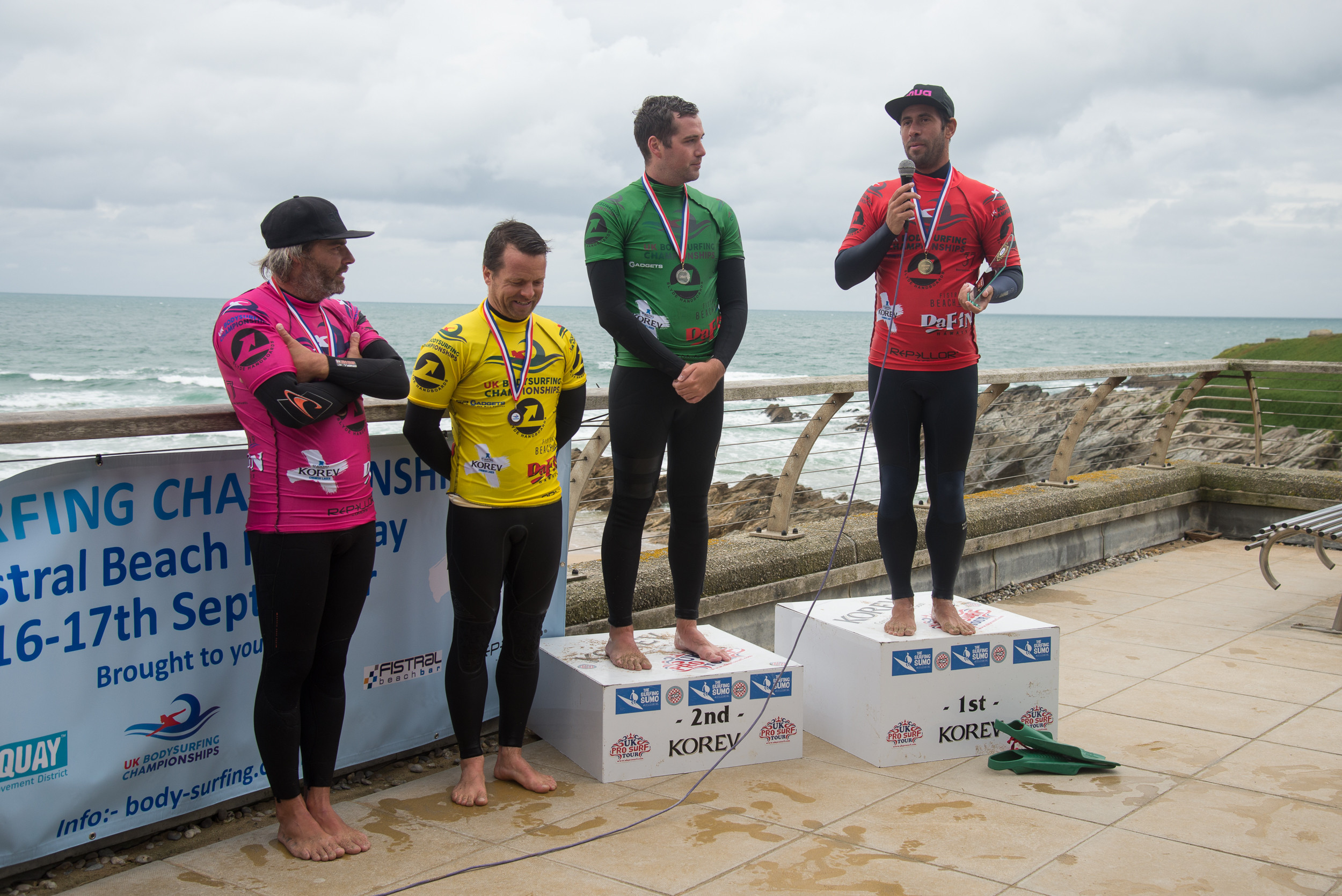 Slyde Handboards UK Bodysurfing Championships 2017 winners - Miguel Rocha (1st), Jack Middleton (2nd), Rui Lopes (3rd) and Nicholas Manacas (4th)